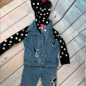 Minnie mouse 2t denim jacket and jeans